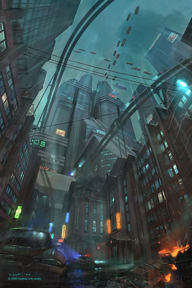 Down town picture 2d architecture concept art level for Sci fi decor