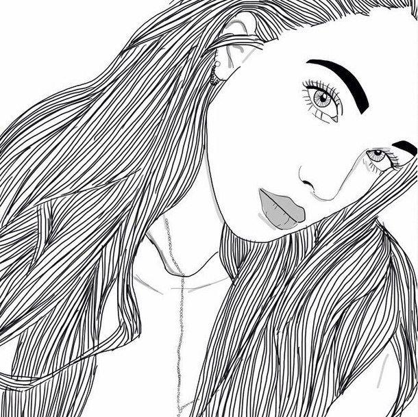 dessins de fille tumblr    noir, noir et blanc, dessins, fille, filles, grunge, cheveux, lèvres ...