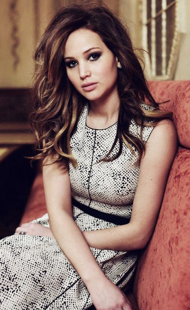 Dark brunette with caramel highlights;   Jennifer Lawrence