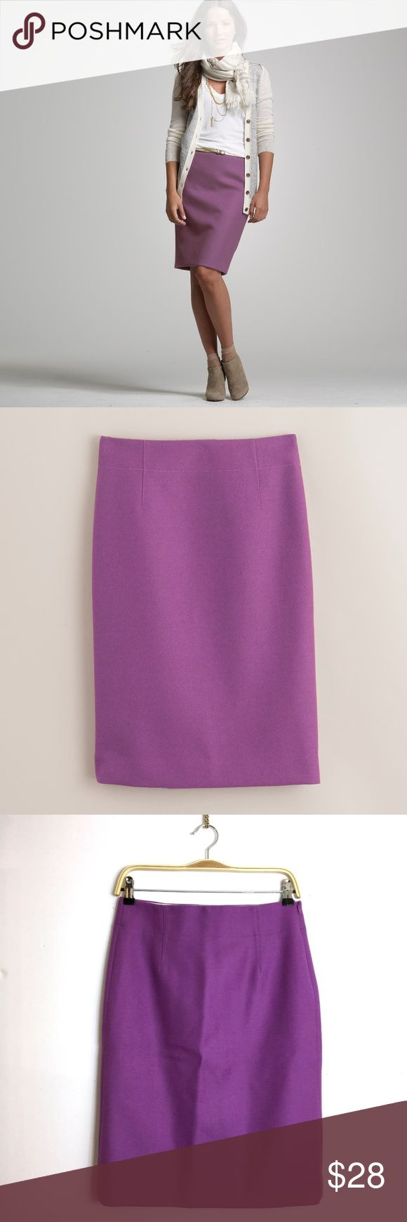"""J. Crew perfect pencil skirt in Wool fresh plum Retail: $118  Size 2 Length: 23"""" Waist: 15"""" Hips: 18.5""""  A leg-lengthening pencil skirt, now with long darts at the front and back waistband for an even more flattering fit. The lustrous wool—a distinctive twilled weave with a very refined finish—is from a century-old Japanese weaving mill. J. Crew Skirts Pencil"""