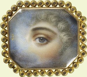 A Precious Eye of a Lady, 1890. This miniature of watercolor on ivory is set in a gold and onyx bracelet with a beaded gold border. It came into the Royal Collection via King George V. Possibly a gift from his wife, Queen Mary or something he purchased on his own.