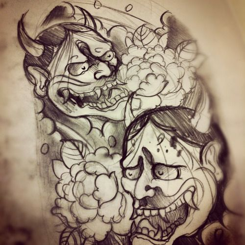 Japanese Hannya Mask Tattoo Deisgn photo - 2
