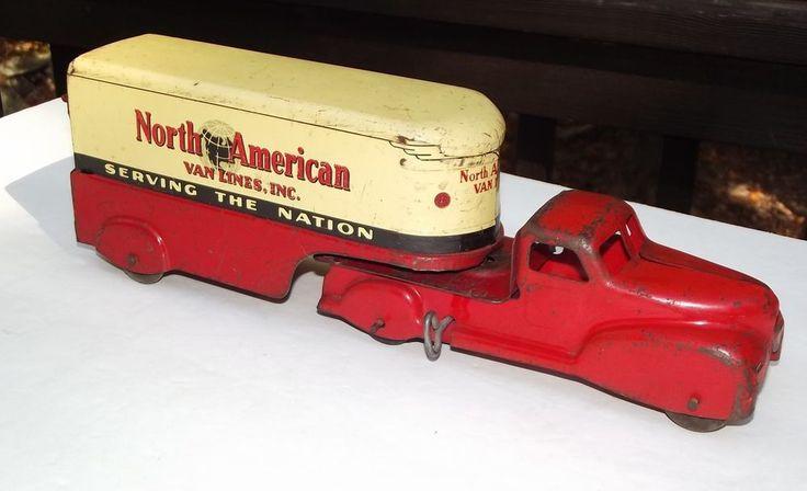 Rare Vintage 1940's Marx Wind Up North American Van Lines Tractor Trailer #Marx
