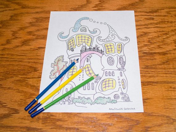 Funny castle Coloring Page. Kids activity. Download child art. Adults coloring  pages. print and color. Family fun. Meditative activity
