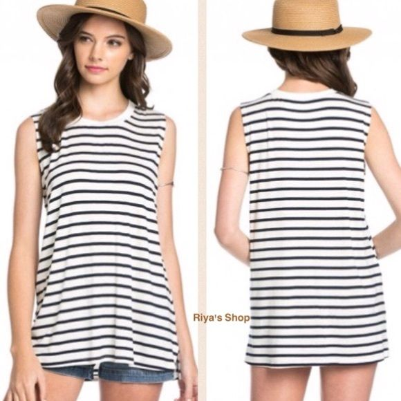 "The ""STRIPEE"" striped sleeveless navy tee Striped tees are a fashion favorite for a stylish look. Super comfy and cute. Material: 95% rayon, 5% spandex. Very very comfortable.  Available in Small, Medium and Large. Comment your size and I can make a separate listing for you. Made in USA Tops"