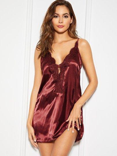 d68b0ee46bf2b Lace Trim Satin Night Dress in 2019