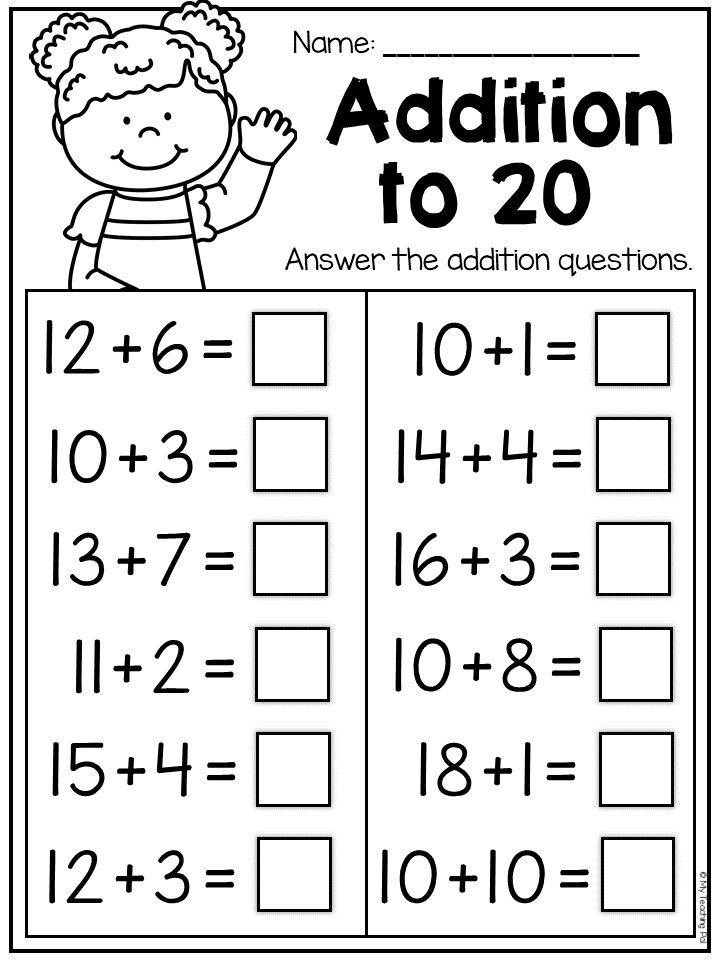 Addition Worksheets First Grade Kindergarten Kindergarten Math Worksheets Addition Addition And Subtraction Worksheets Addition Worksheets First Grade
