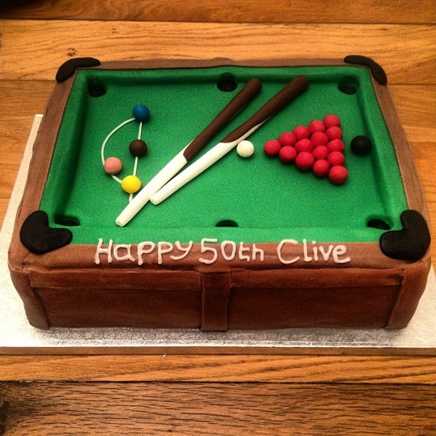 snooker table cake ideas 2