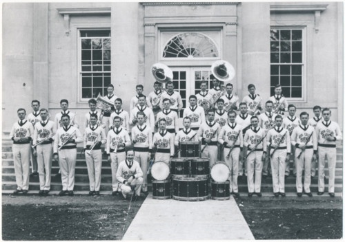 Ripon College band, Ripon, Wisconsin, ca. 1935.  This band sports matching v-neck sweaters and ties rather than more formal traditional marching band uniforms, which are based on military dress uniforms.  via: Ripon College Archives