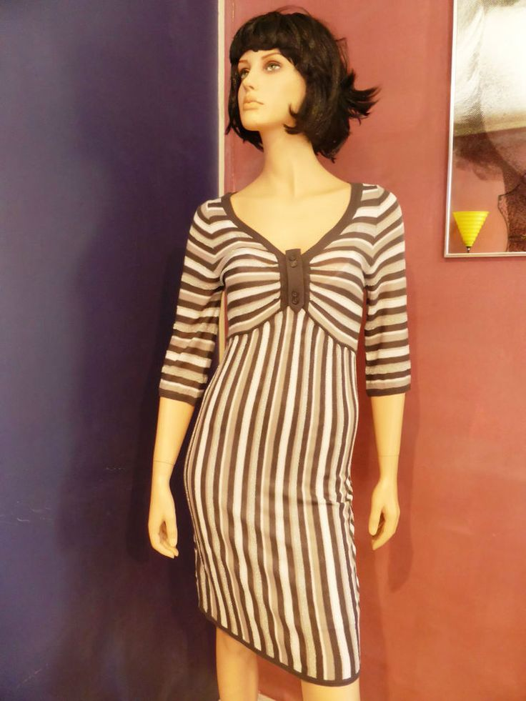 Bel Air Silver and White Striped 3/4 Sleeve Pencil Dress Size 10-12