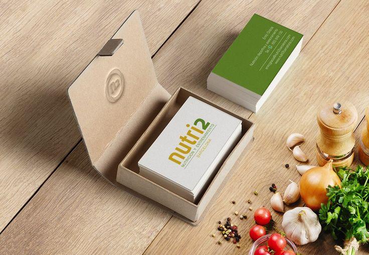 Diseño de logotipo y tarjetas de visita para una empresa de nutrición.