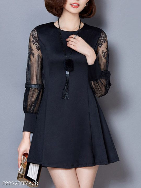 cbc7183b367 Round Neck Patchwork Lace Shift Dress in 2019 | FASHION TRENDS | Fashion,  Classy dress, Dresses
