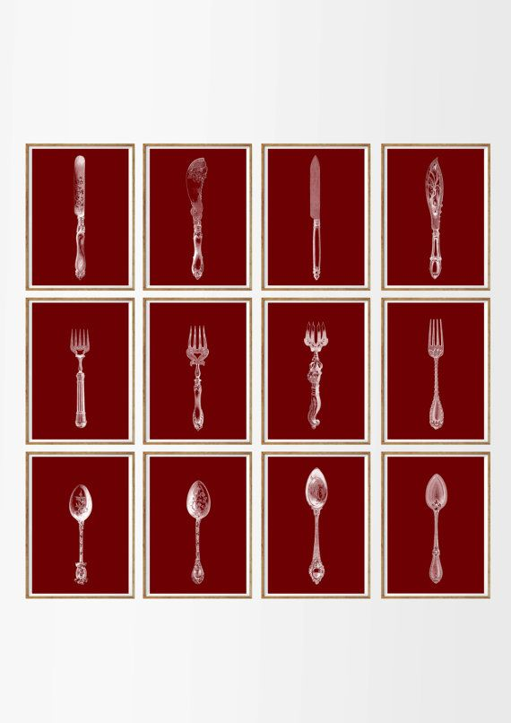 Antique Kitchen Art Print SET of 12. A4.  knife fork spoon, kitchen wall art, french kitchen, restaurant, burgundy, red, wine, dining room
