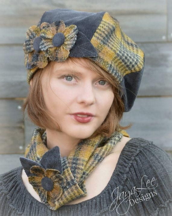 Beret Hat Yellow Tartan & Gray Corduroy by GreenTrunkDesigns