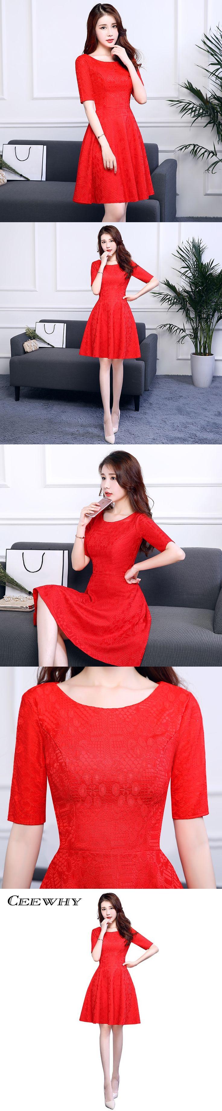 CEEWHY Little Red Dresses Half Sleeve Formal Gown Lace Dress Vestidos de Coctel Elegant Cocktail Dresses Short Prom Dresses