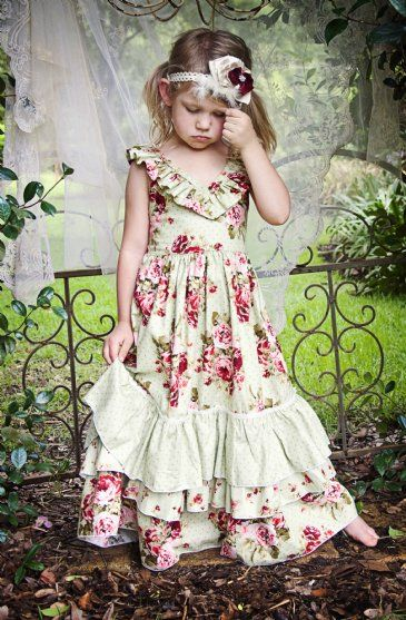 Vintage Rose Country Chic Holiday FrockPerfect Shabby Chic Christmas Dress!12 Months to 16 Years