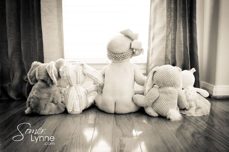 6 month old baby bare butt and her stuffed animals