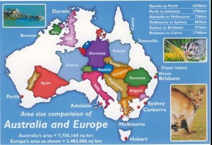 Size comparison of Australia and Europe