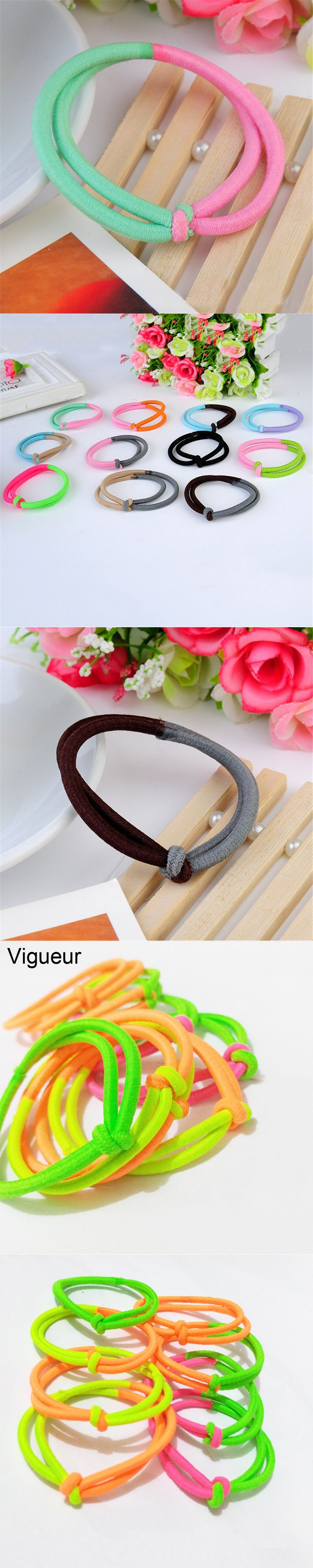 Vigueur 10pcs Hair Accessories Women Elastic Rubber Bands Holders Solid Color Rope Tie Gum for Hair Girls