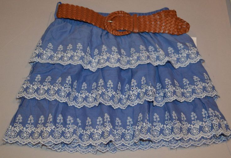 Women's Rue 21 Blue Ruffle Floral Stitch Elastic Waist Skirt &Belt Juniors Small #rue21 #Tiered