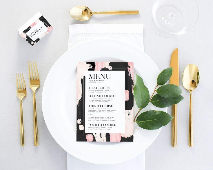 Pink Wedding Menu Printable - Printed Wedding Menu - Black and White Wedding Menu Digital - Modern Wedding Menu Cards - Wedding Dinner Menu by MargauxPaperie on Etsy