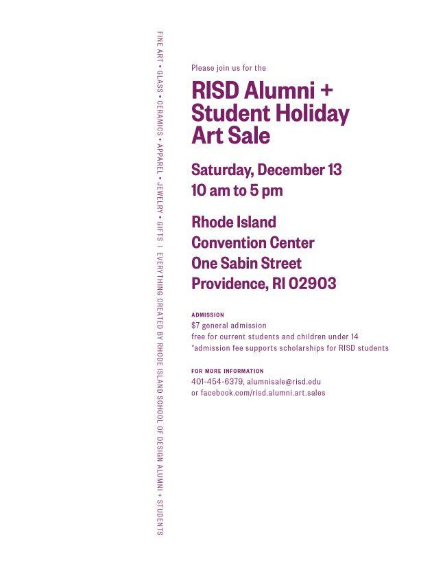 RISD Alumni Holiday Sale! Dec 13 10-5 RI Convention Center Providence, RI