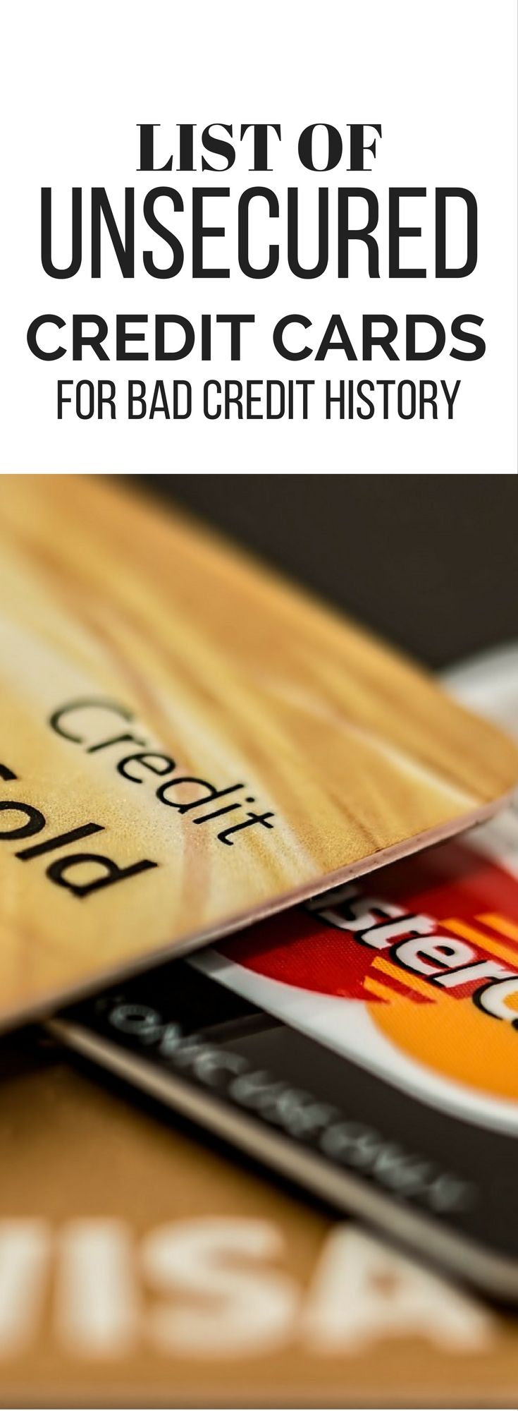 Unsecured Credit Cards for Bad Credit History