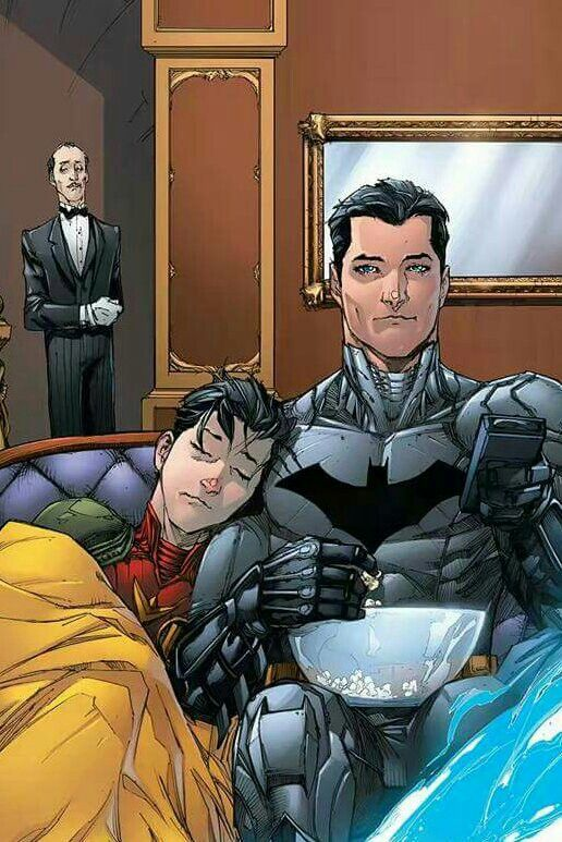 Batman & Robin (Jason Todd) WATCHING A MOVIE!!! Awww! :)