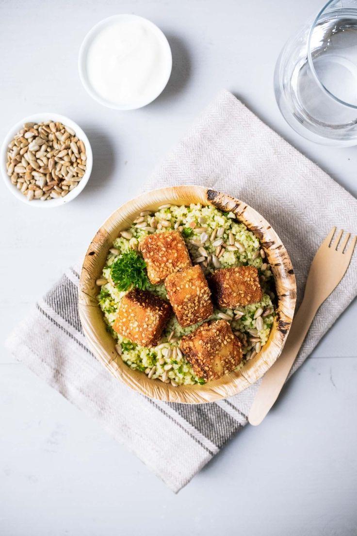 Lemon couscous with crunchy feta, sunflower seeds and natural yoghurt