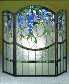 Stained glass fireplace screen