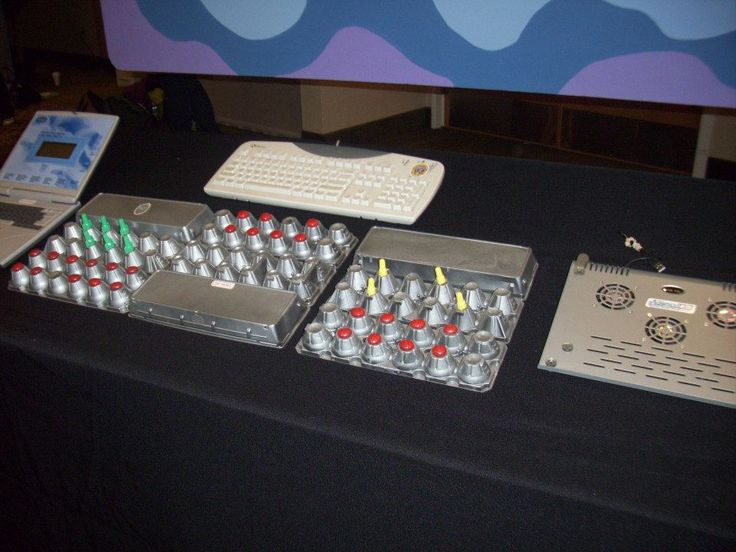 Control panel made from egg cartons--place on security table with security monitors