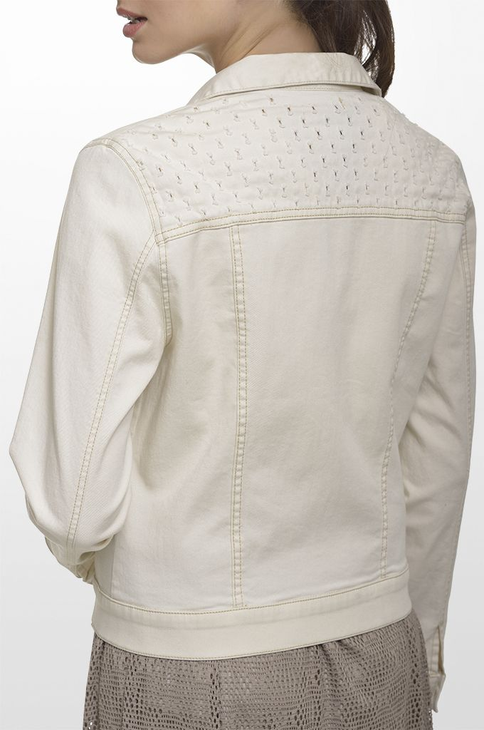 Sarah Lawrence - laser cut jacket, lace maxi skirt.