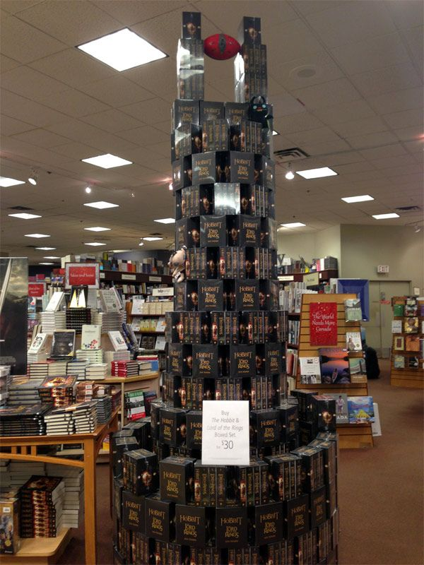 The only acceptable way to stack Tolkien's work in a bookstore...