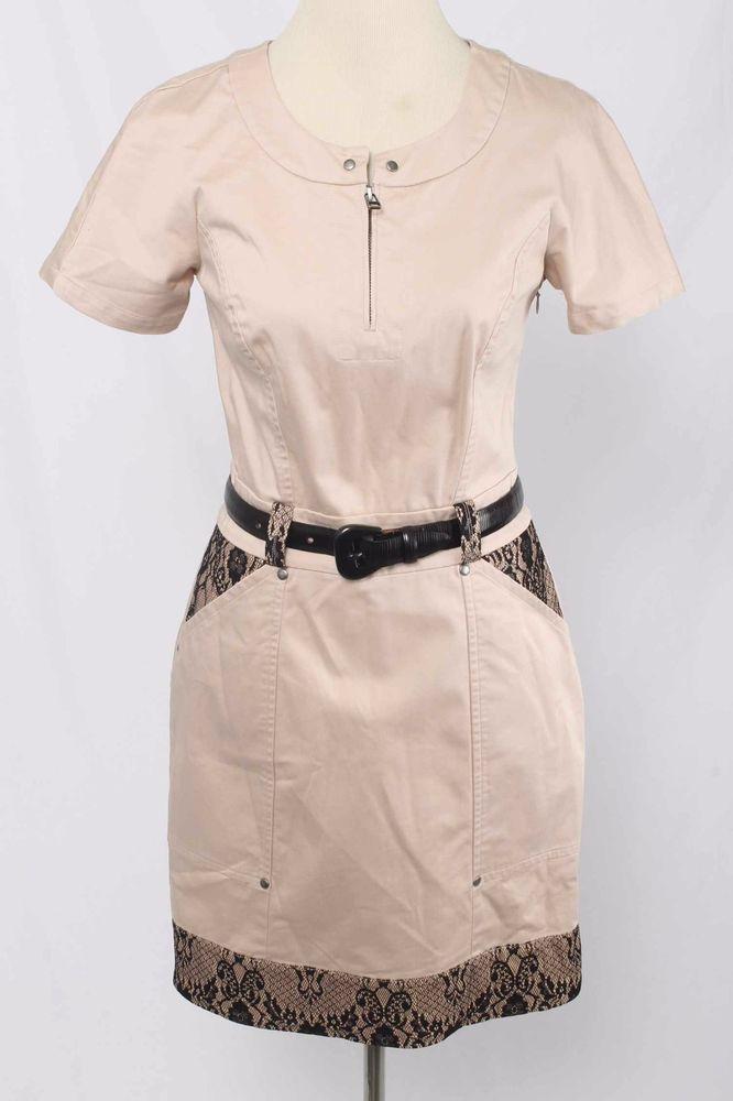 2b Rych Size 6 Pale Pink Lace Inset Belted Cotton Stretch Dress 2110 L1016  | eBay