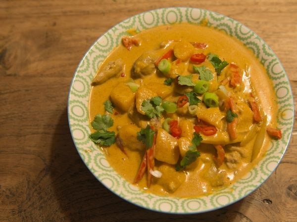 Thaise kip pompoen curry