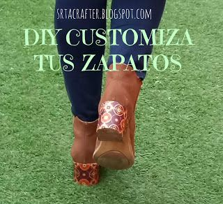 http://srtacrafter.blogspot.com.es/2017/02/diy-customiza-tus-botas-viejascustomize.html Recicla tus botas viejas/ Customize your old shoes!! oh My good! so pretty.