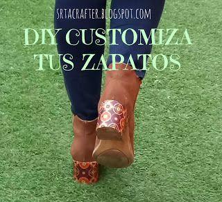 http://srtacrafter.blogspot.com.es/2017/02/diy-customiza-tus-botas-viejascustomize.html Recicla tus botas viejas/ Customize your old shoes!! oh My good! so pretty.