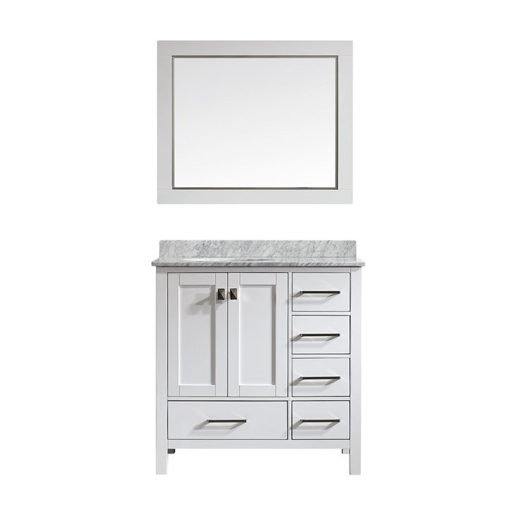 Photo Gallery For Website Gela inch White Single Vanity with Carrera White Marble Top with Mirror Overstock