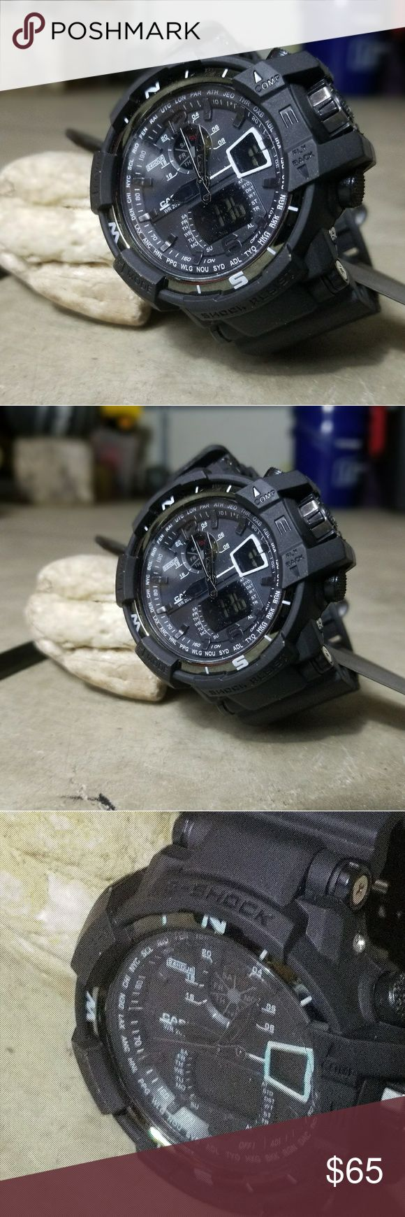 G-shock Black Series 3 G-Shock watch. Equipped with a venture technology. Enjoy life with the benefit of a shock absorbing, impact resistant, and anti-magnetic structure. A clean stainless steel back provides comfort. Cisco precision technology will keep you on time. Water resistant up to 200 bar. G-Shock Accessories Watches