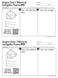 FREE Surface Area & Volume of Triangular Prisms Worksheet