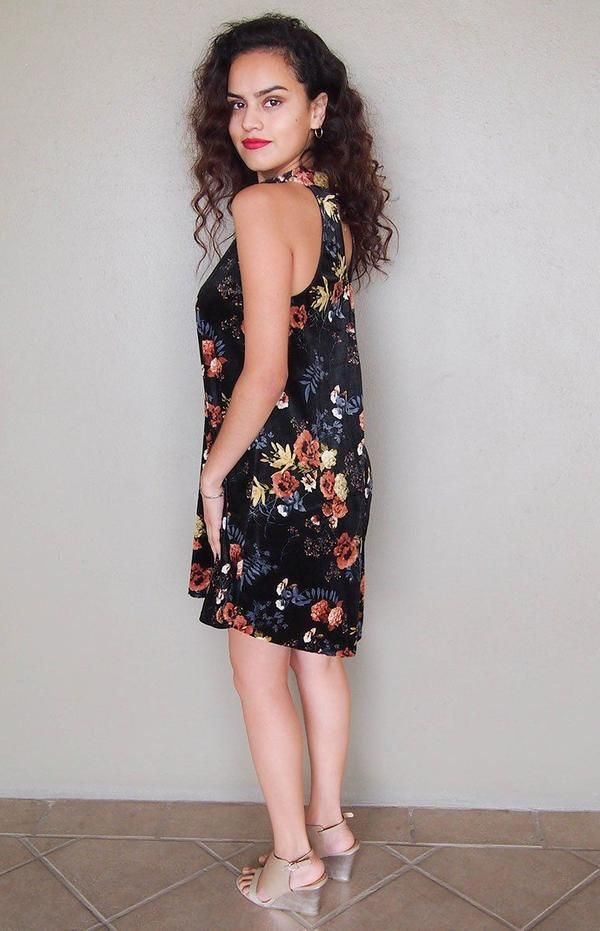 Now is thetime for a new look with theGet Romantic Dark Olive Velvet Floral Print Halter Swing Dress! Shiny dark olive velvet forms a floral design, high neckline, back keyhole with button closure. Floral print features: grey, yellow, orange, cream and brown. Sleeveless with a swing bodice and flirty flowy skirt. Slip on style. This gorgeous velour dress is a perfect evening dress, cocktail dress and party dress. www.ledyzfashions.com