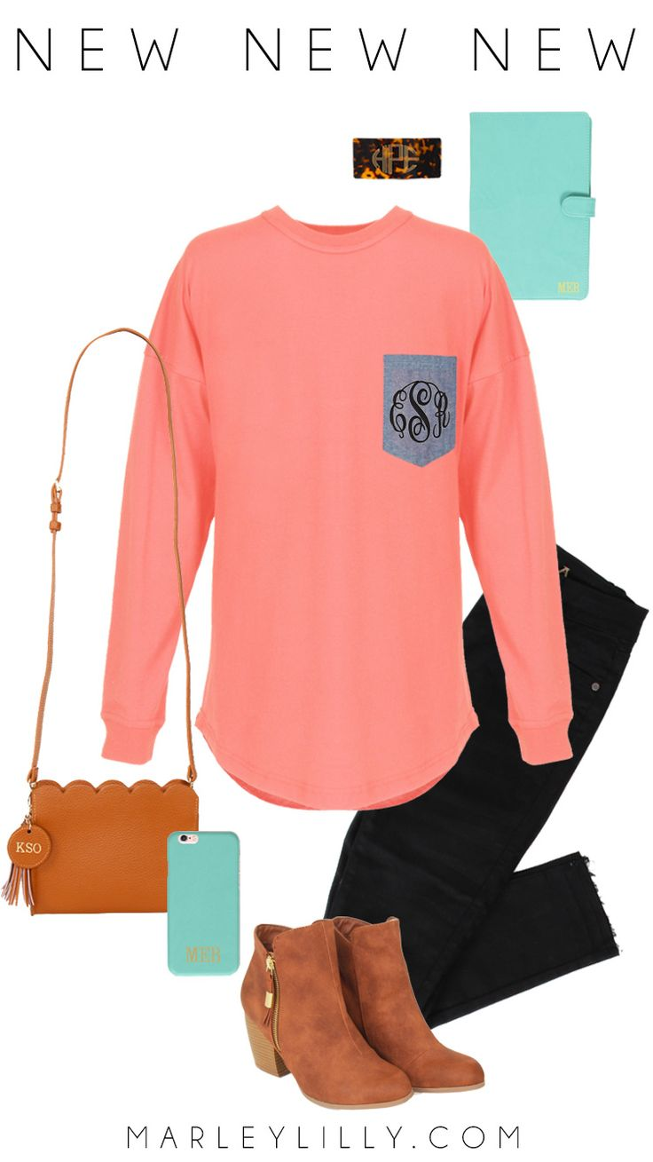 We are OBSESSED with this NEW Monogrammed Long Sleeve Jersey! It comes in the cutest colors and patterns! Go to Marleylilly.com and check out what the back of it looks like! #adorbs