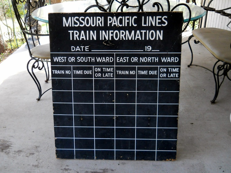 Rare Railroad Ephemera // 1960s MO PAC Train Schedule Chalkboard.