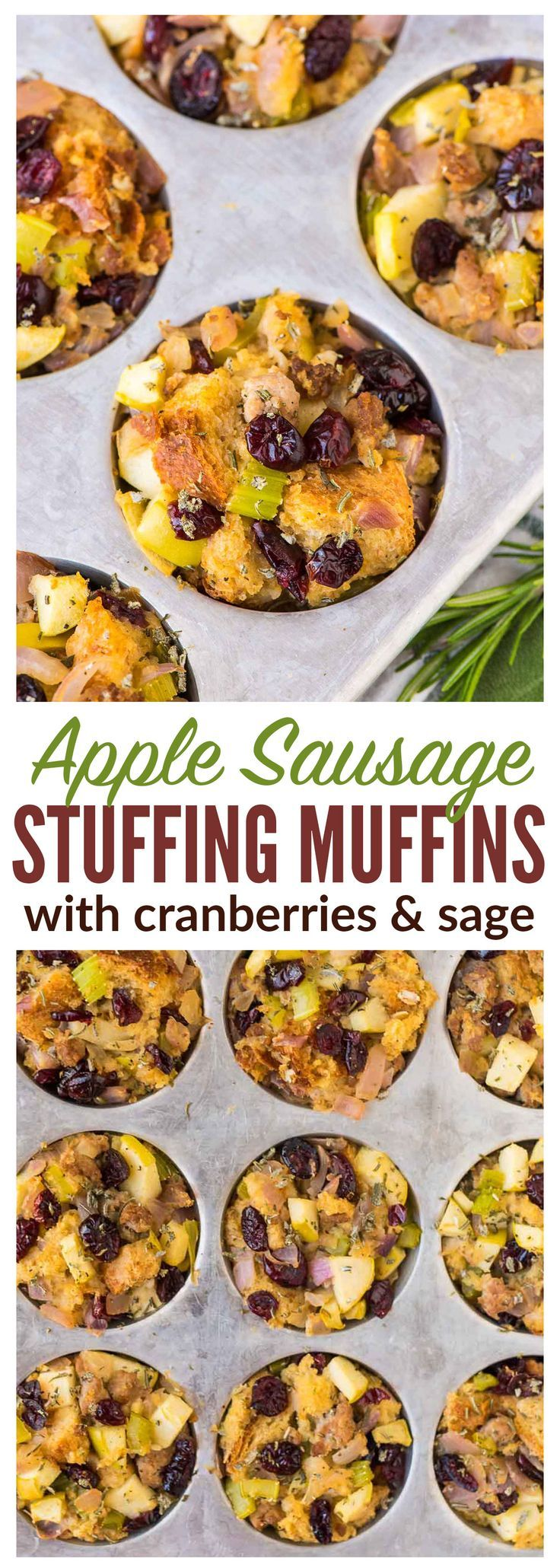 Apple Sausage and Cranberry Stuffing Muffins. The BEST classic Thanksgiving stuffing, baked in a muffin tin. Delicious crispy edges and easy to serve! Recipe at wellplated.com | @wellplated