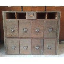 Meuble de m tier en bois tiroirs ancien vintage meuble for Meuble bureau office depot