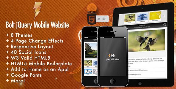 Site Templates - Bolt jQuery Mobile Website | ThemeForest