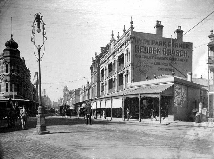 Oxford Street from Hyde Park before the street was widened, and when it was paved in...wood! (c.1910)