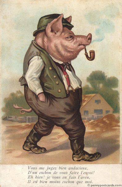 Smoking Pig.........vintage.
