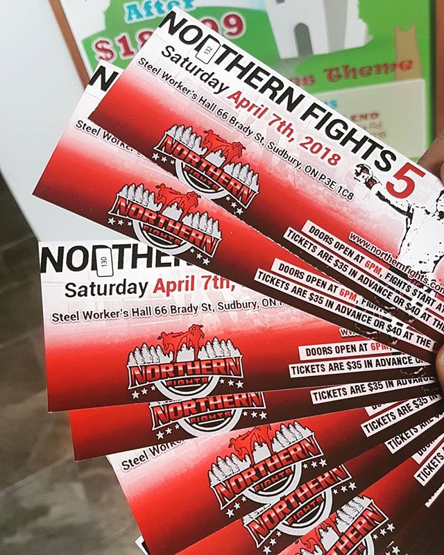 Northern Fights tickets are now availible at BOTH locations!! APRIL 7th SAVE the date!!! VIP seating and tables are also availible. MSG us or stop in to pick up your tickets today!! #northernfights #2018 #muaythai #kickboxing #sudbury #sudburymma #striking #puncu #kick #bam #grind #trainhard