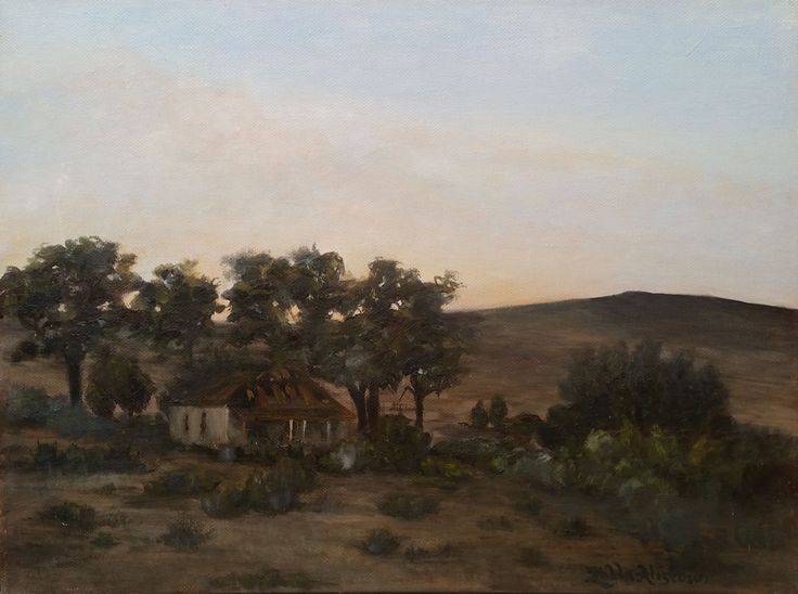 KAROO SKEMER  by Zelda Alistoun paintings Oil on canvas 400 x 300 mm -when the sun sets in the Karoo and peace steps in.